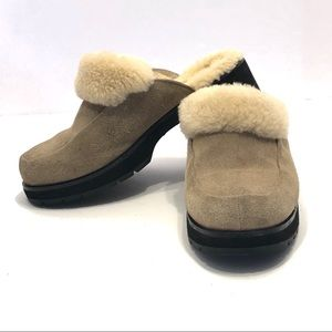UGG | Tan Suede Shearling Lined Mules or Clogs